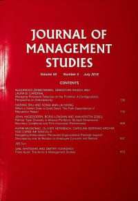 Image of Journal of Management Studies, July 2018