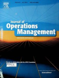 Image of Journal of Operation Management, July 2018
